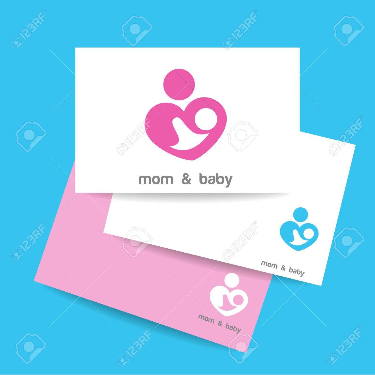 Carte De Visite Modle Signe Soins La Mre Symbole Lamour Parental Illustration Vectorielle Icne Et Bb
