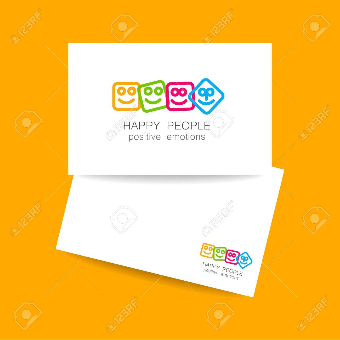 Concept De Conception Carte Visite Pour La Societe Les Emotions Positives Des Jeux Heureux Divertissement Sphere Embleme Lunite Lequipe