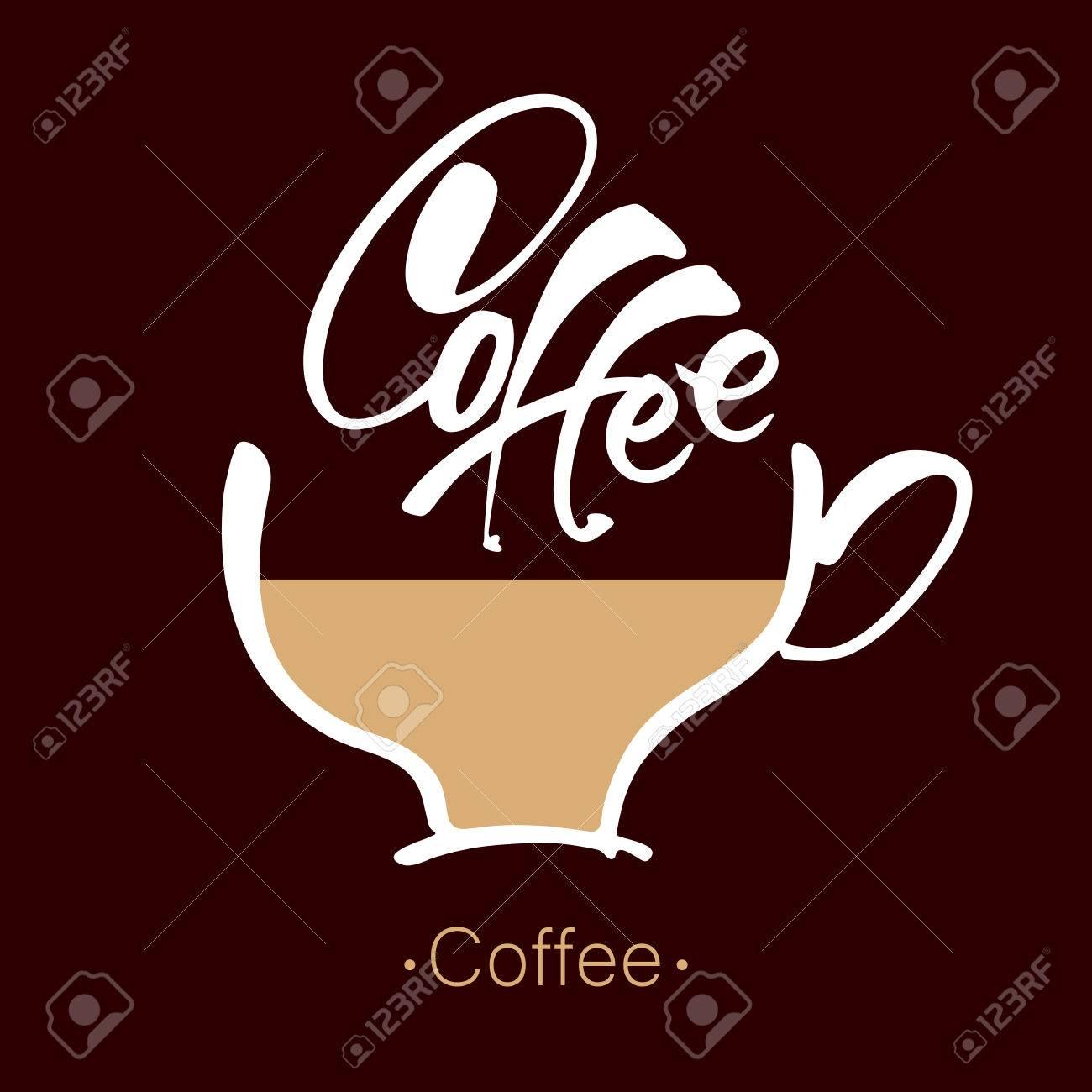 Kaffee. Beschriftung. Kaffeetasse Und Handschriftliche Inschrift ...