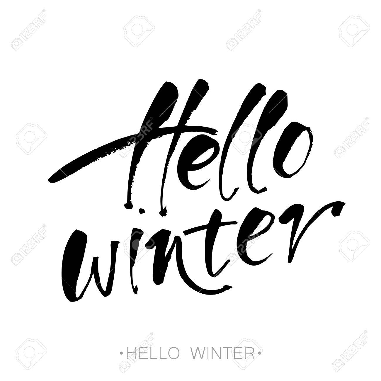 hello winter text letters inspirational poster print clothing design template