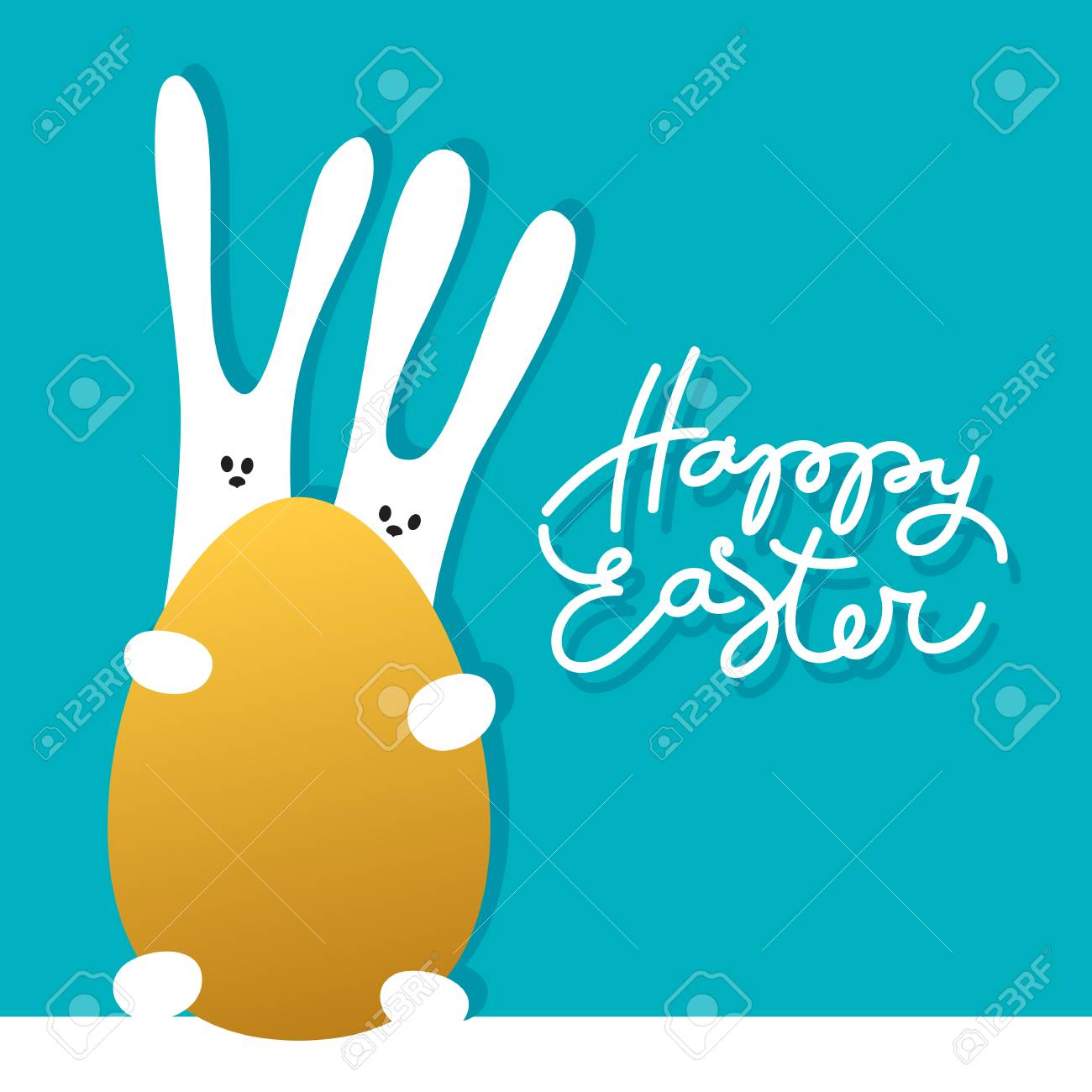 Easter greeting card template with rabbits and golden egg holiday easter greeting card template with rabbits and golden egg holiday background for design card kristyandbryce Image collections