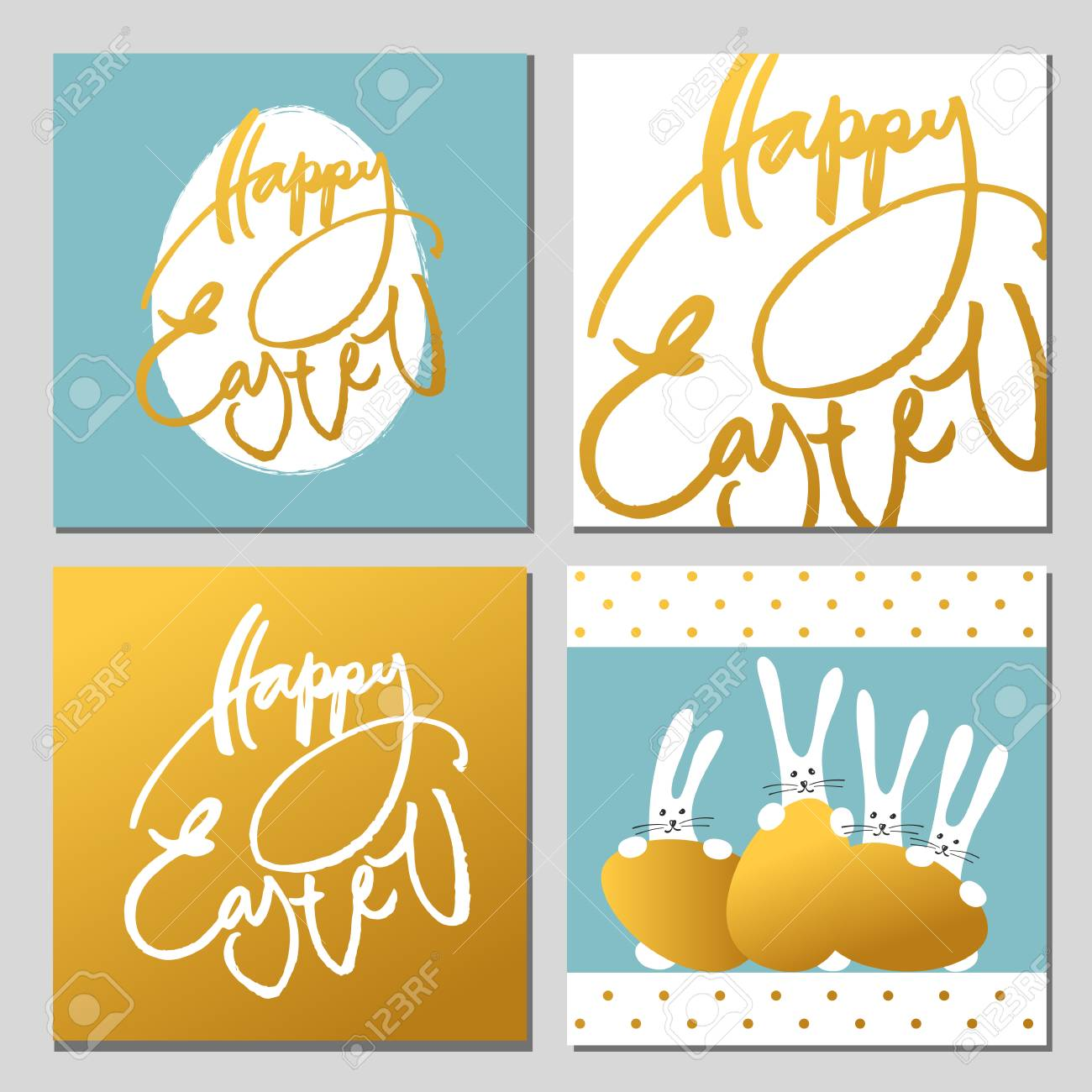 Gold Happy Easter Greeting Cards Collection With Rabbits Bunny