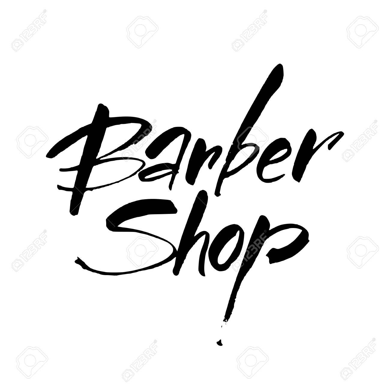 Barbería. Barber Shop Letras Escritas A Mano Logotipo, Insignia ...