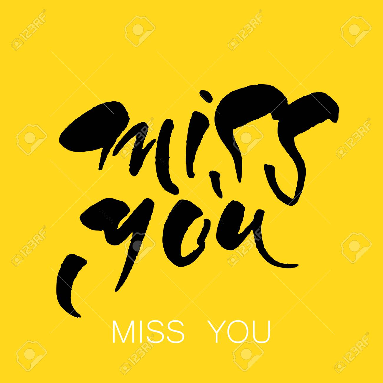 Miss You Greeting Card Hand Drawn Lettering Design Vector