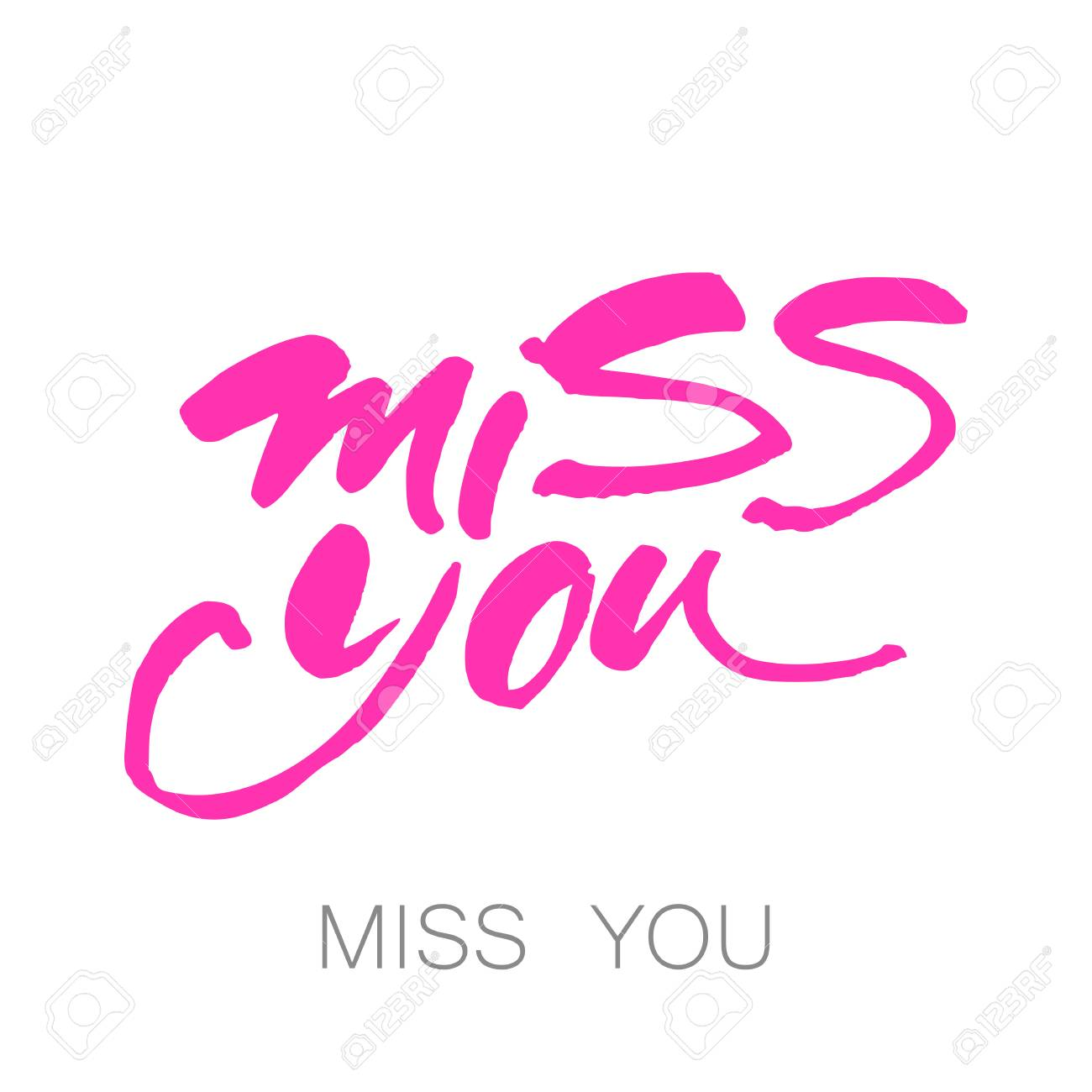 Miss you greeting card hand drawn lettering design vector miss you greeting card hand drawn lettering design vector illustration stock vector m4hsunfo
