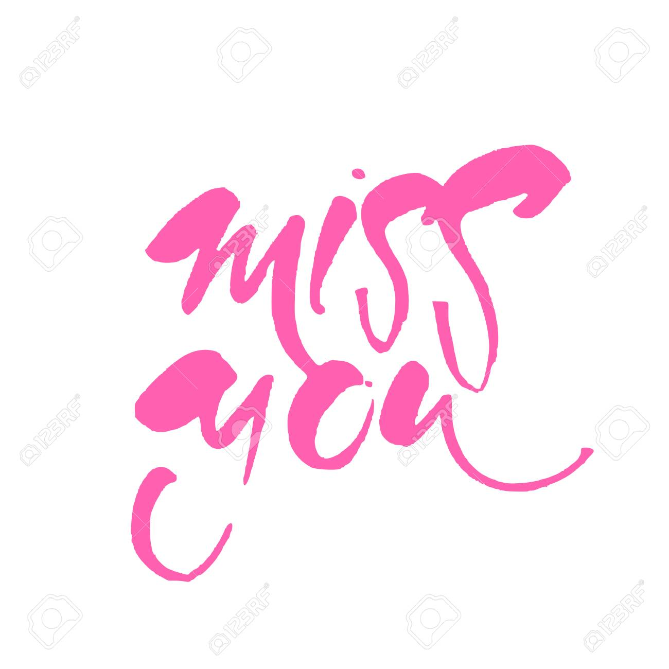 Miss You Greeting Card With Calligraphy Vector Illustration