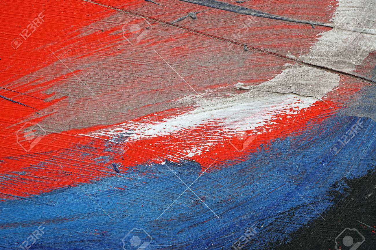Stroke Of A Brush With White Blue And Red Acrylic Paint On Stock
