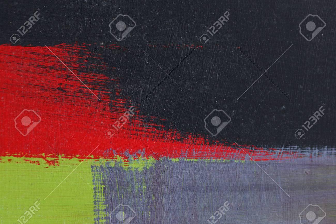 Coup de pinceau avec de la peinture acrylique noir, vert, gris et rouge sur  une clôture en métal vieux poussiéreux - Texture abstraite multicolore ...