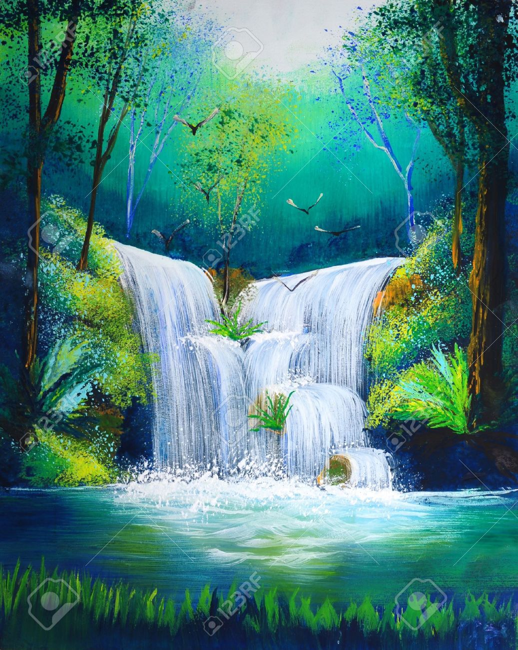 Watercolor Painting Of Waterfall Stock Photo Picture And Royalty