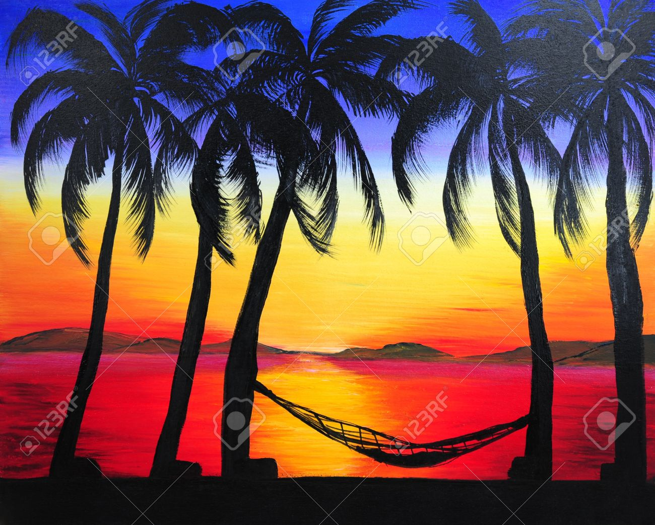 Painting Of Sunset In The Beach Stock Photo