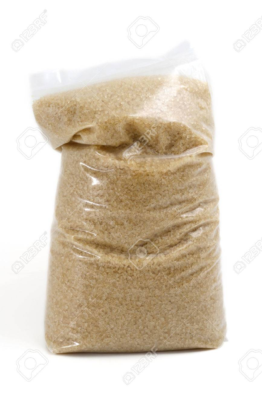 Plastic Bag of Sugar Isolated on White - 28849328