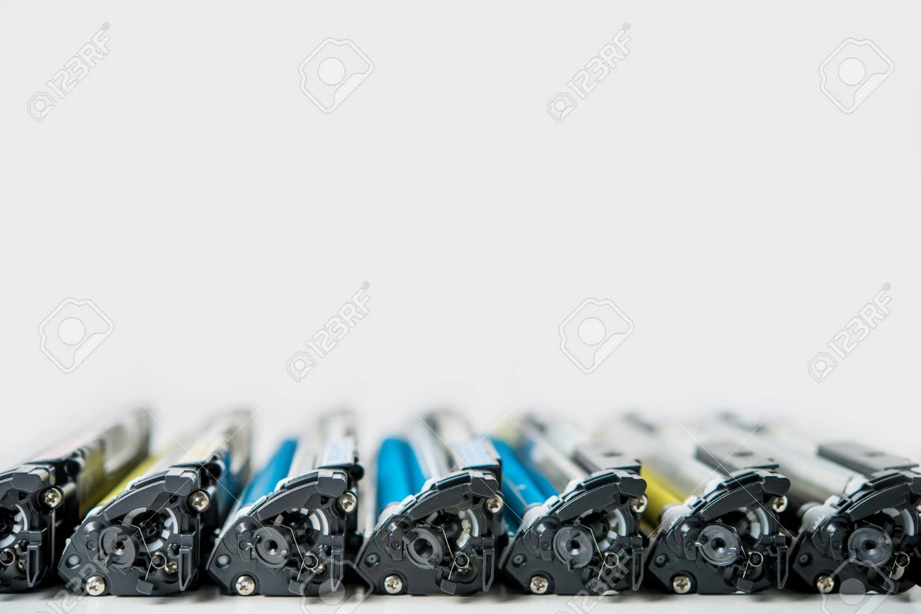 row of used laser toner cartridge - 83033666