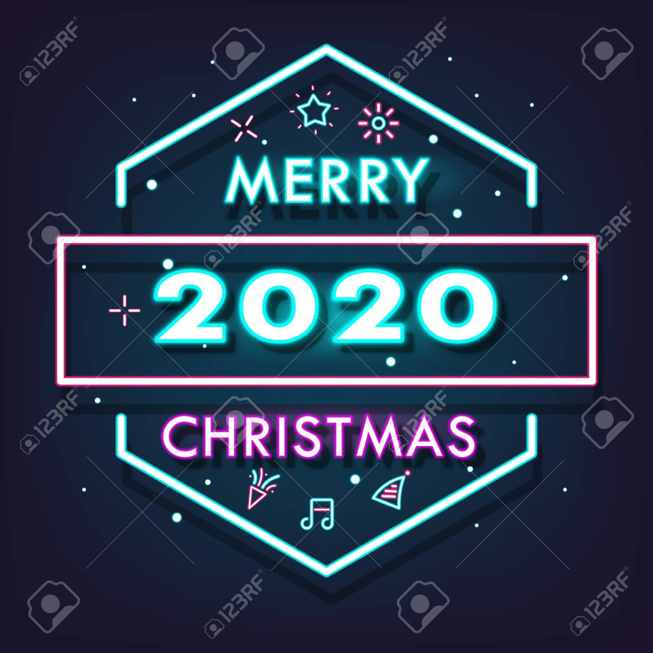134468452 happy new year 2020 shining neon light background vector illustration merry christmas and happy new