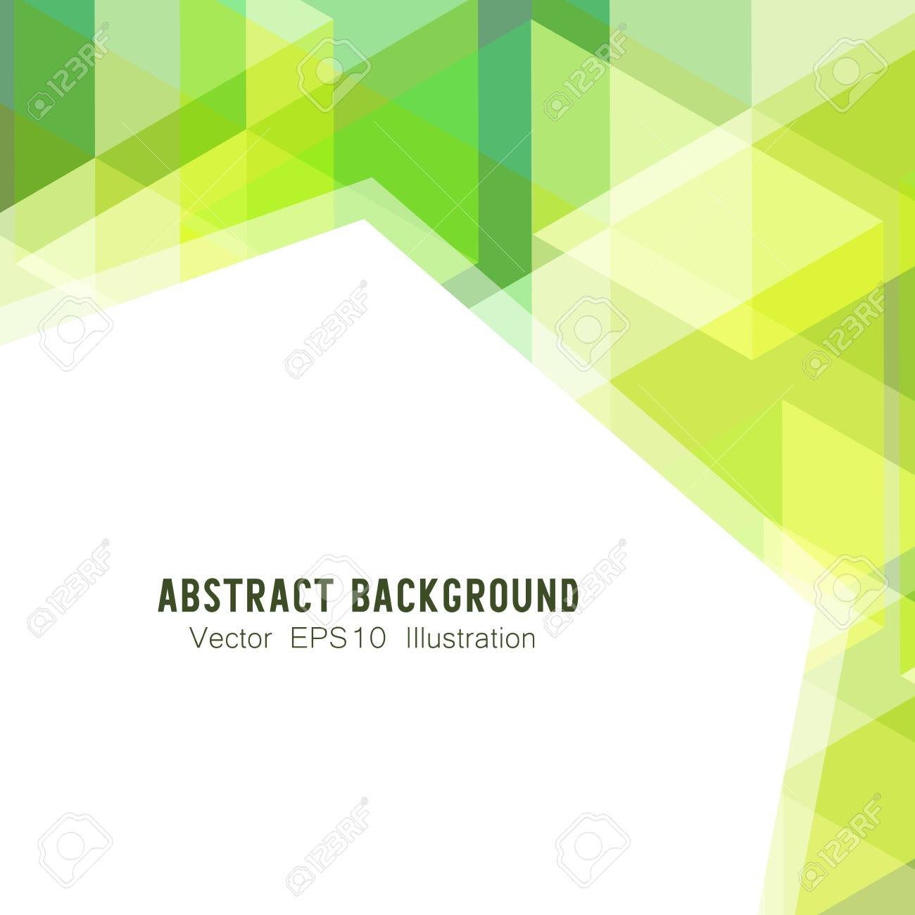 Abstract geometric or isometric white and green polygon or low poly vector technology concept background. EPS10 illustration style design. - 143653274