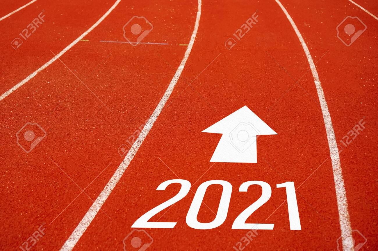 Start line to 2021 on running court represents the beginning of a journey to the destination in business planning, strategy and challenge or career path, opportunity concept. - 146664113