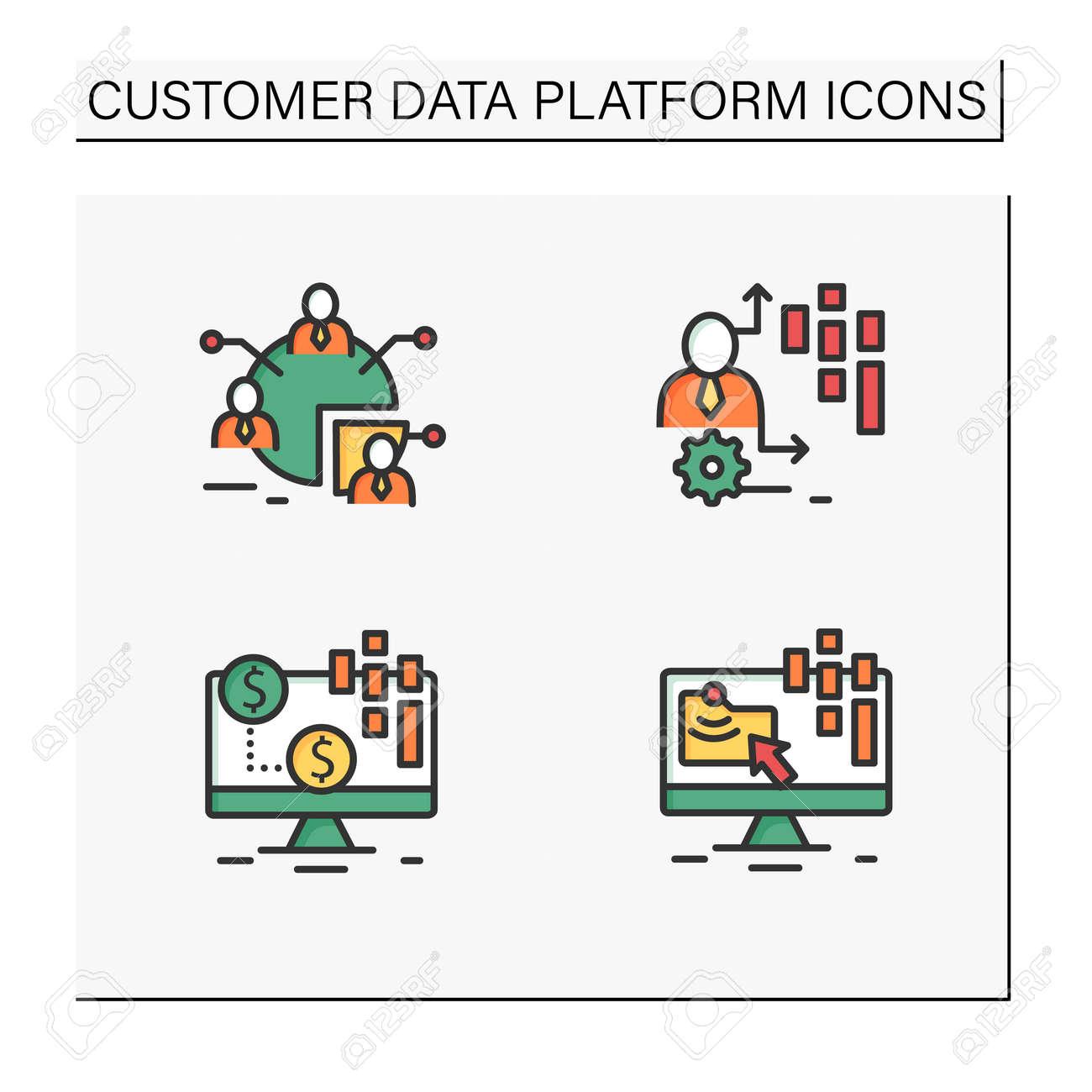 Customer data platform color icons set - 166804549