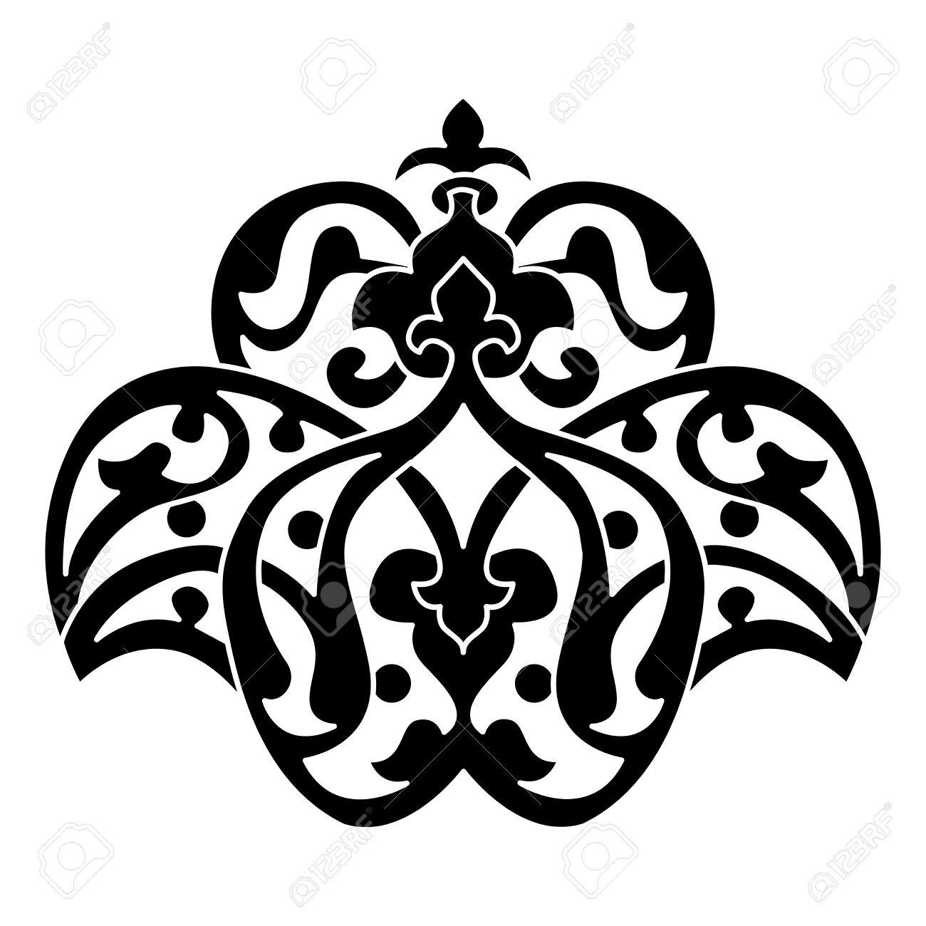 Turkish Design black and white antique ottoman turkish design motifs vector
