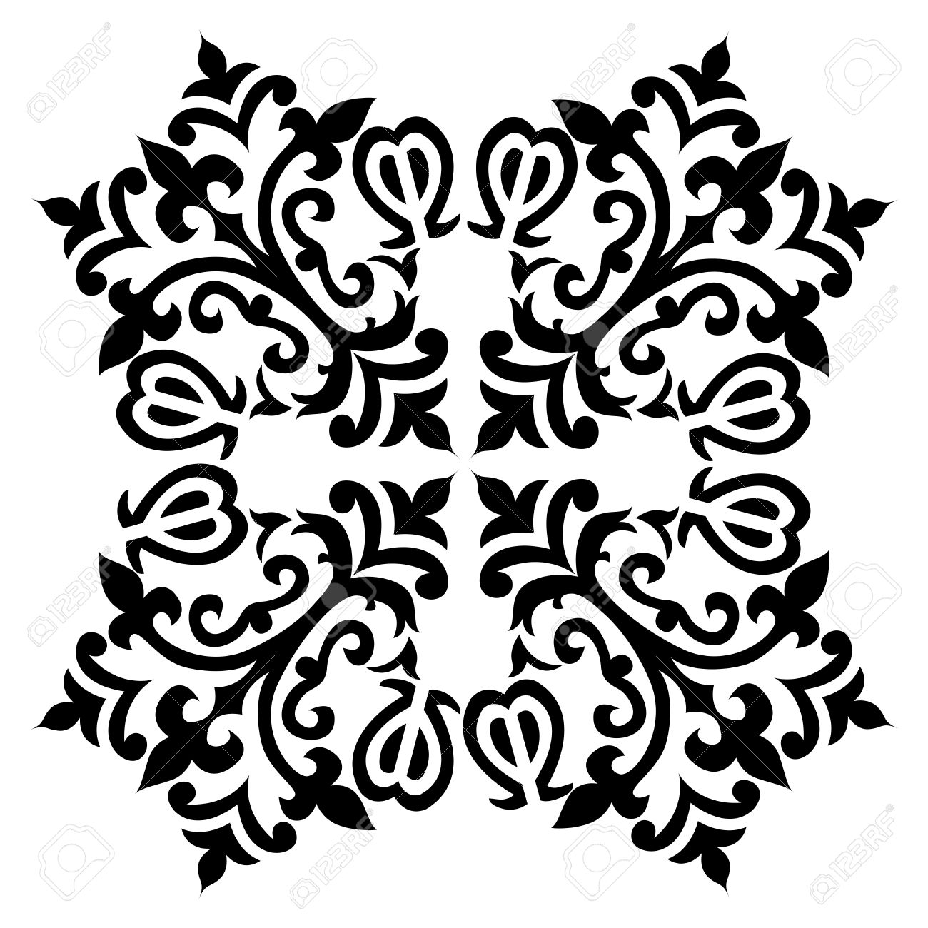 Black and white antique ottoman turkish design motifs vector stock vector 55729226