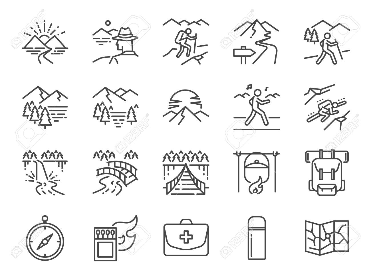 c0a351a9c7 Trekking Line Icon Set. Includ The Icons Of View