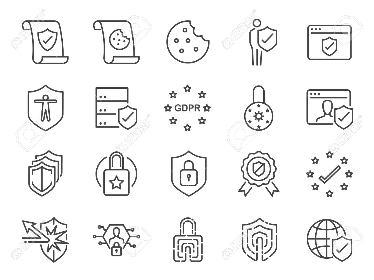 Privacy policy icon set. Included the icons as security information, GDPR, data protection, shield, cookies policy, compliant, personal data, padlock Vector illustration. - 99695703