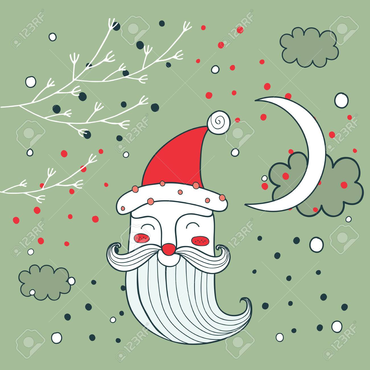 Merry Christmas Happy New Year Santa Claus Greeting Card Background