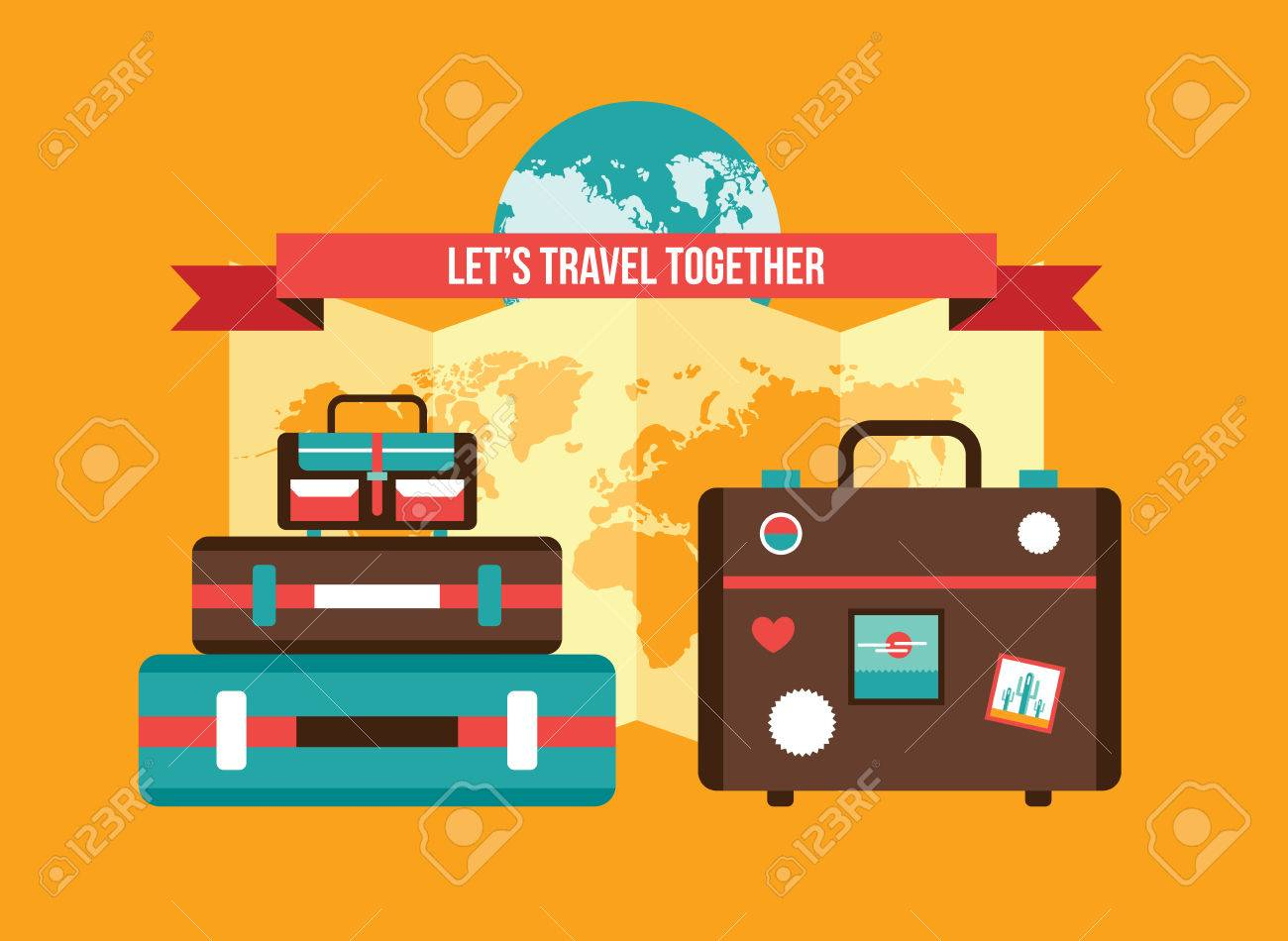 Background with bag suitcases world map vacation travel planning background with bag suitcases world map vacation travel planning concept illustration stock vector 52375713 gumiabroncs Image collections