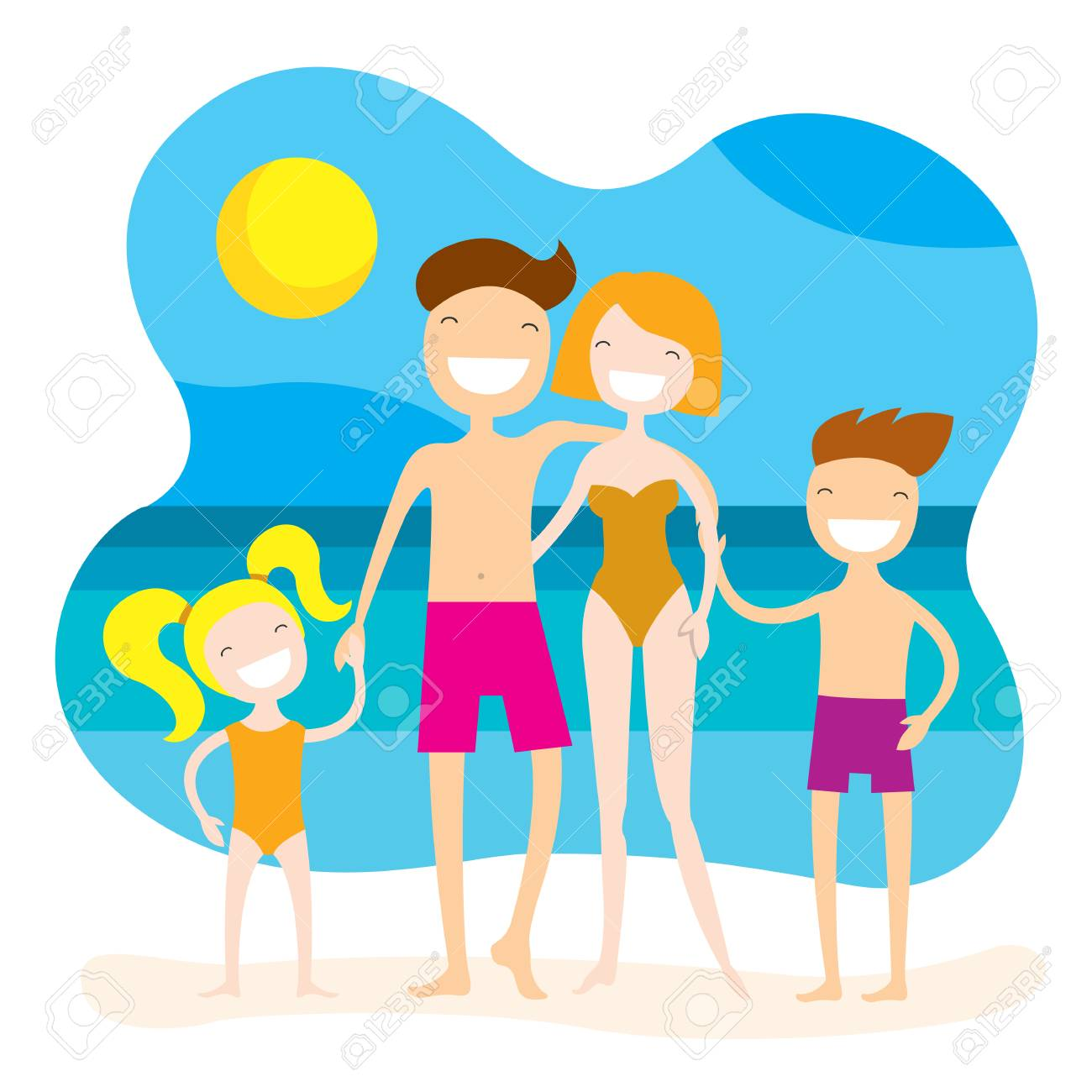 Happy Family On The Beach Summer Vacation Holidays By The Sea Stock Photo Picture And Royalty Free Image Image 105812666