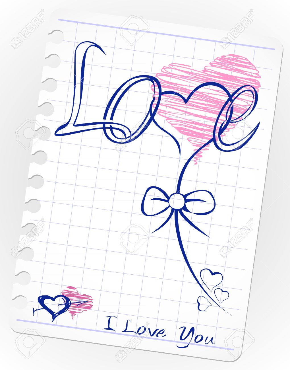 love drawing doodles card. Hand drawn hearts, love, kiss, lipstick, heart shape, shape, stamp Stock Vector - 10256088