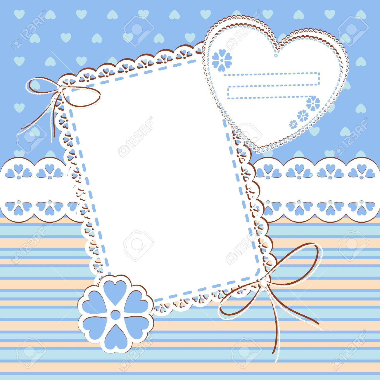 Baby Boy Arrival Card With Photo Frame And Place For Your Text ...