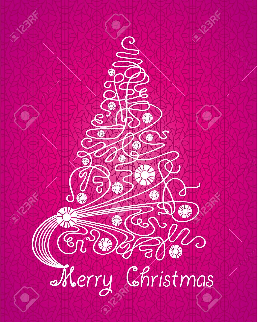Merry Christmas Purple Vector Card. Tree On Lace Background ...