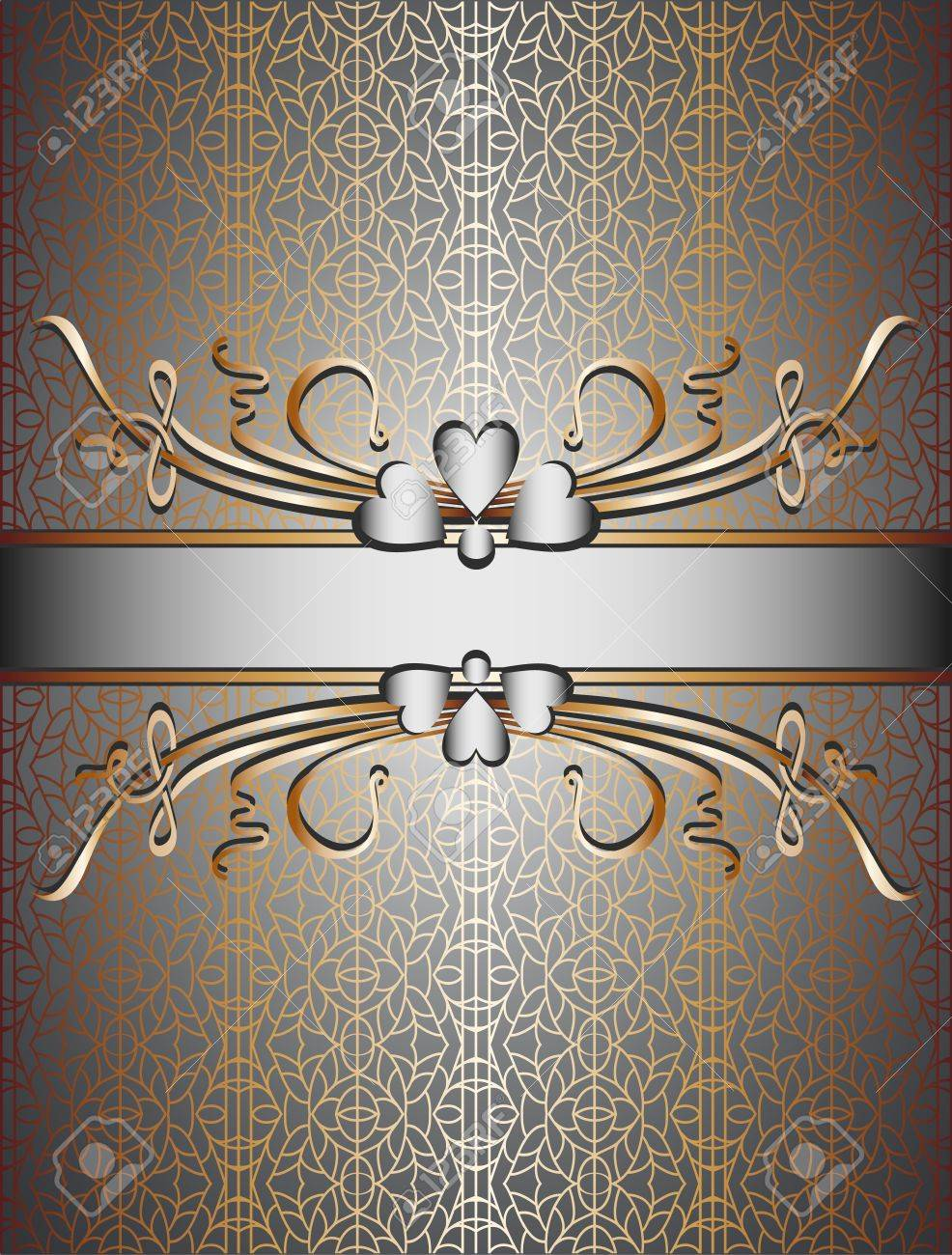 light lace metal background with floral plant frame. Seamless pattern Stock Vector - 10628016
