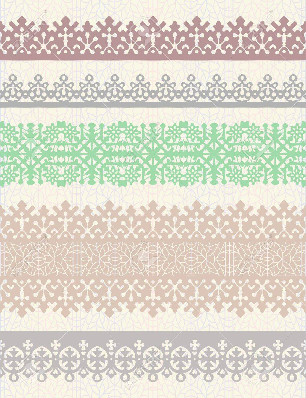 Set of vintage vector borders. Could be used as divider, frame, etc Stock Vector - 10659214