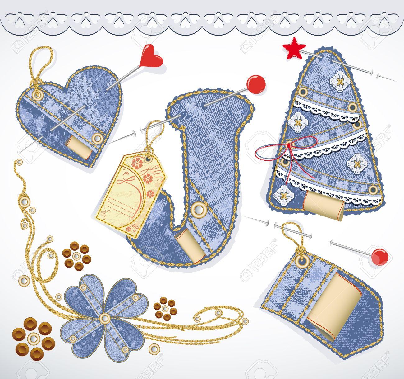 Vector jeans design element set. Denim texture. Heart, flower, tag, label, lace, christmas tree Stock Vector - 11548998
