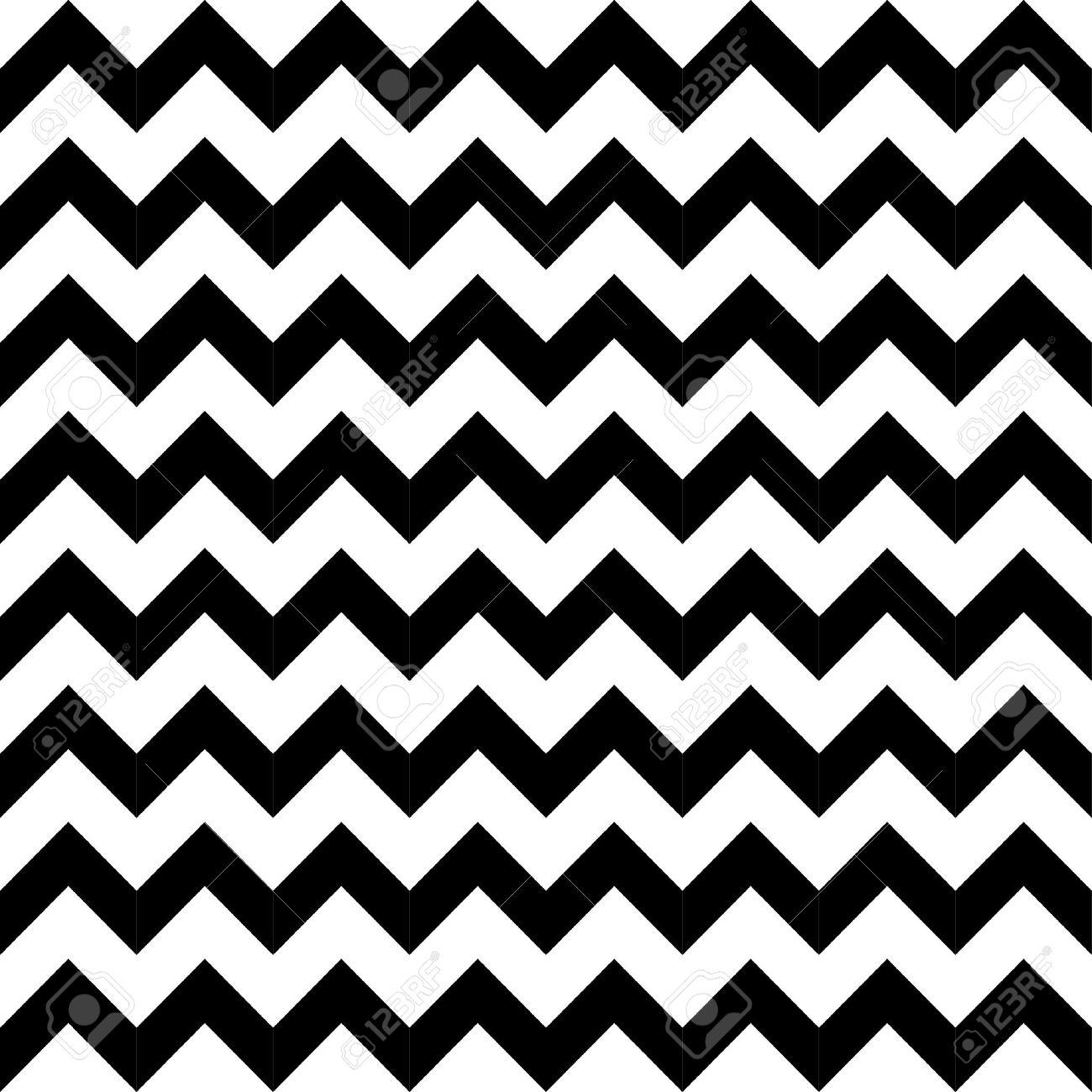 Resumen Sin Patrón Geométrico Zigzag En Blanco Y Negro, Vector ...