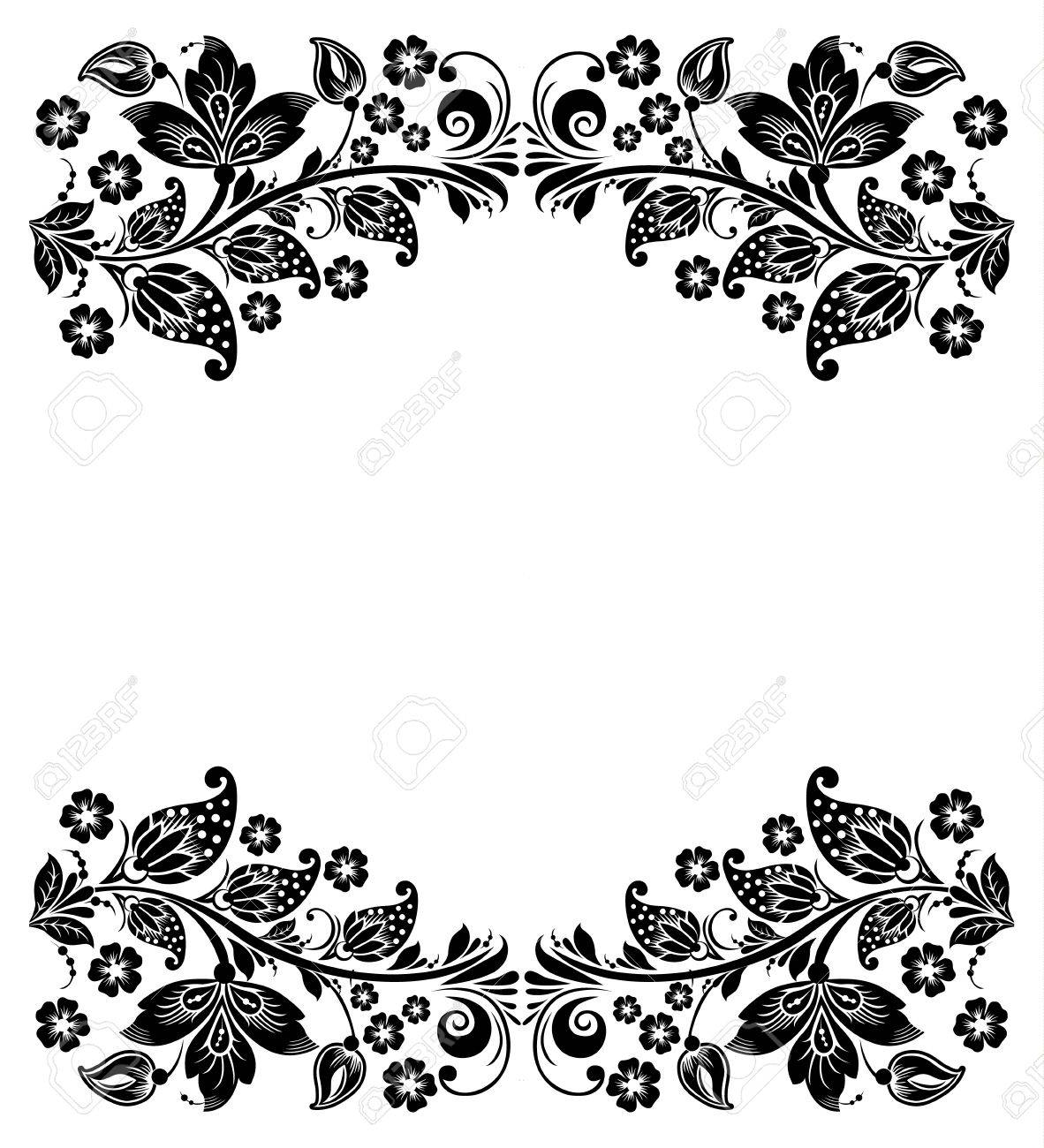 Vector Floral Background Russian Traditional Ornament Hohloma