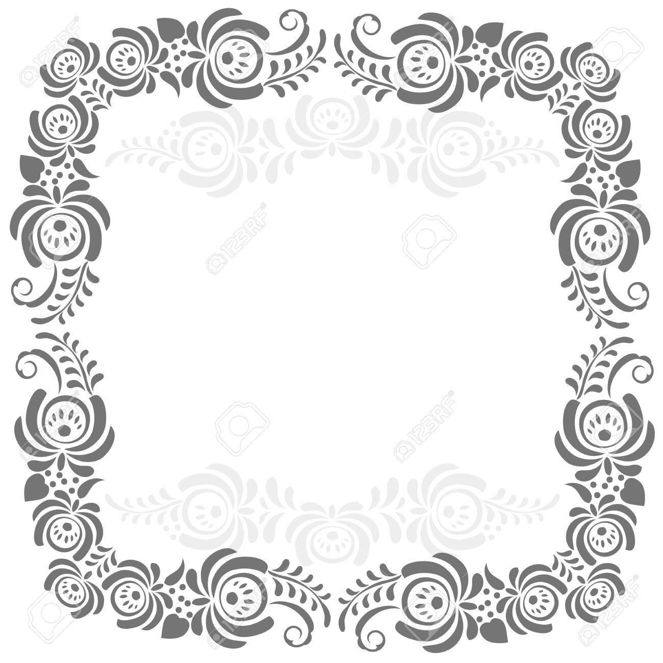 Russische Ornamente Kunst Rahmen In Gzhel Stil Mit Platz Für Ihren ...