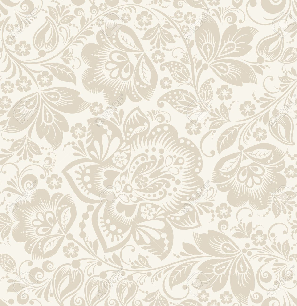 Vector Floral vintage rustic seamless pattern. Background can be used for wallpaper, fills, web page, surface textures. - 45664588