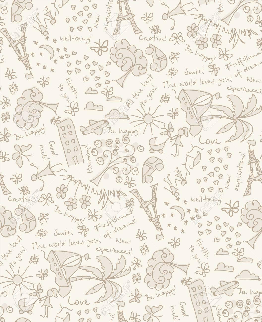 Vector Doodle Tore Träume Und Wünsche Nahtlose Muster Zeichnen Sie