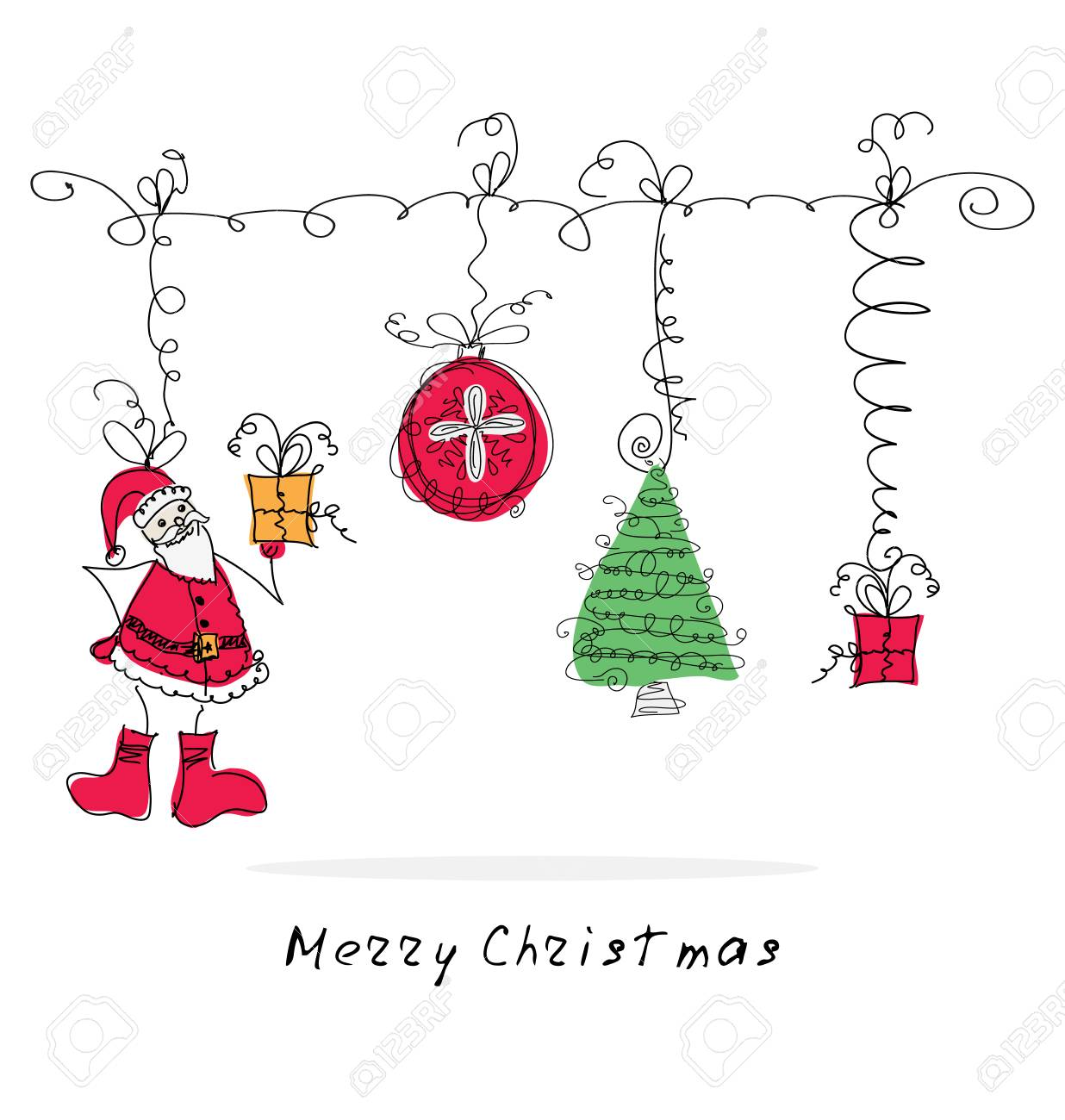 Vector Doodle Cute Christmas Elements. Hand Drawn Christmas Card ...
