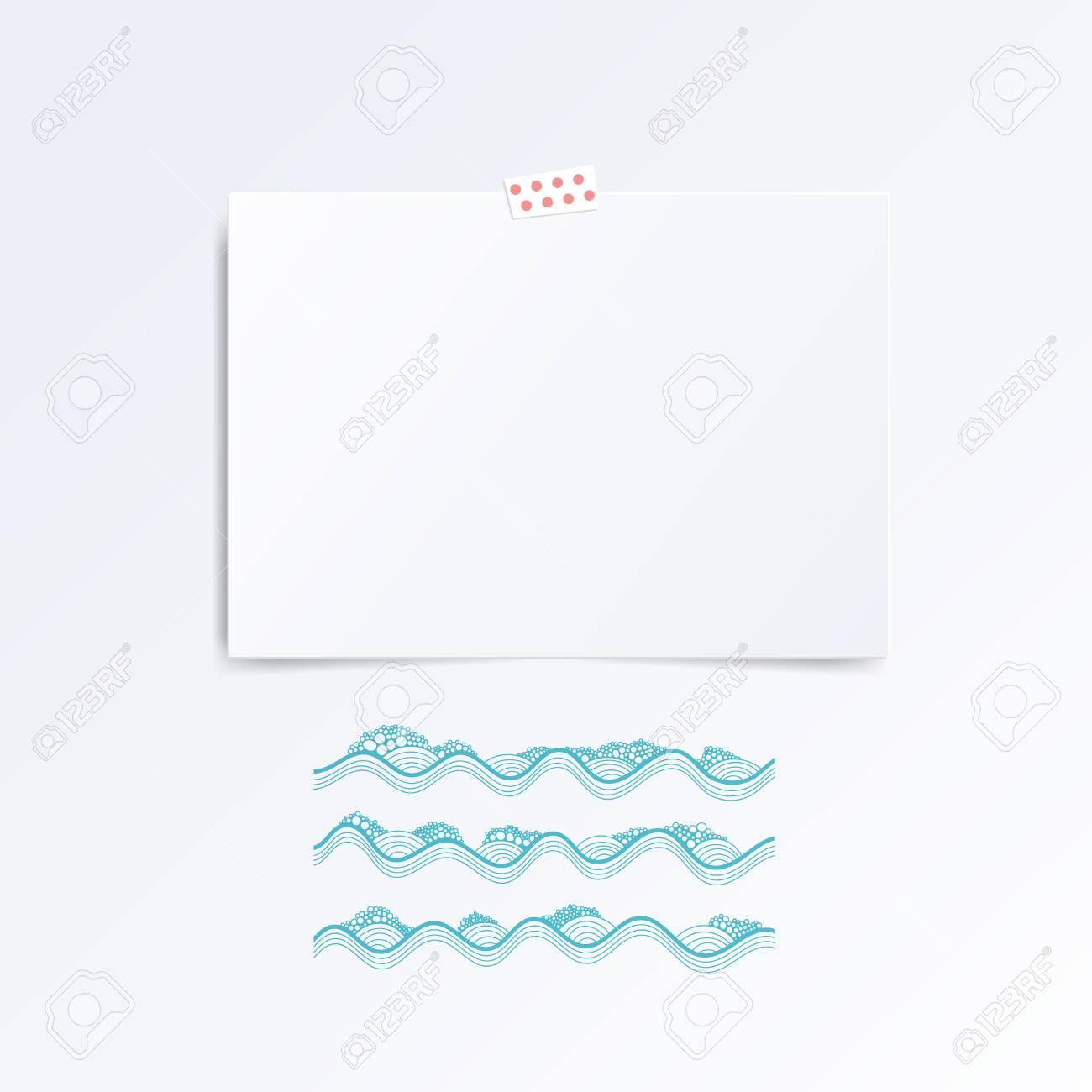 Vektor Weiß Hinweis Papier An Der Wand Dieser Wellen. Hipster ...