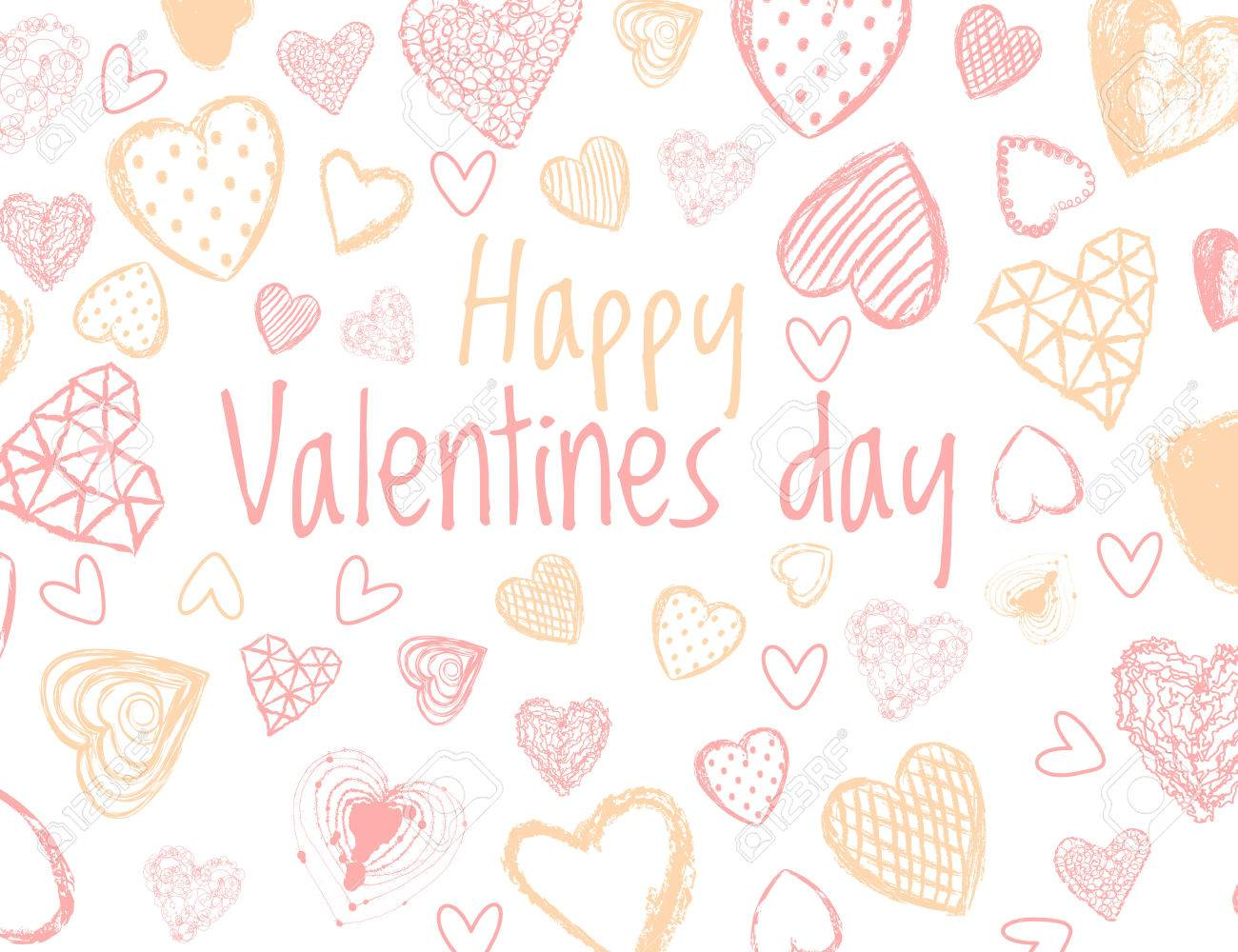 Vector   Vector Love Background With Doodle Hearts. Happy Valentines Day  Quote.