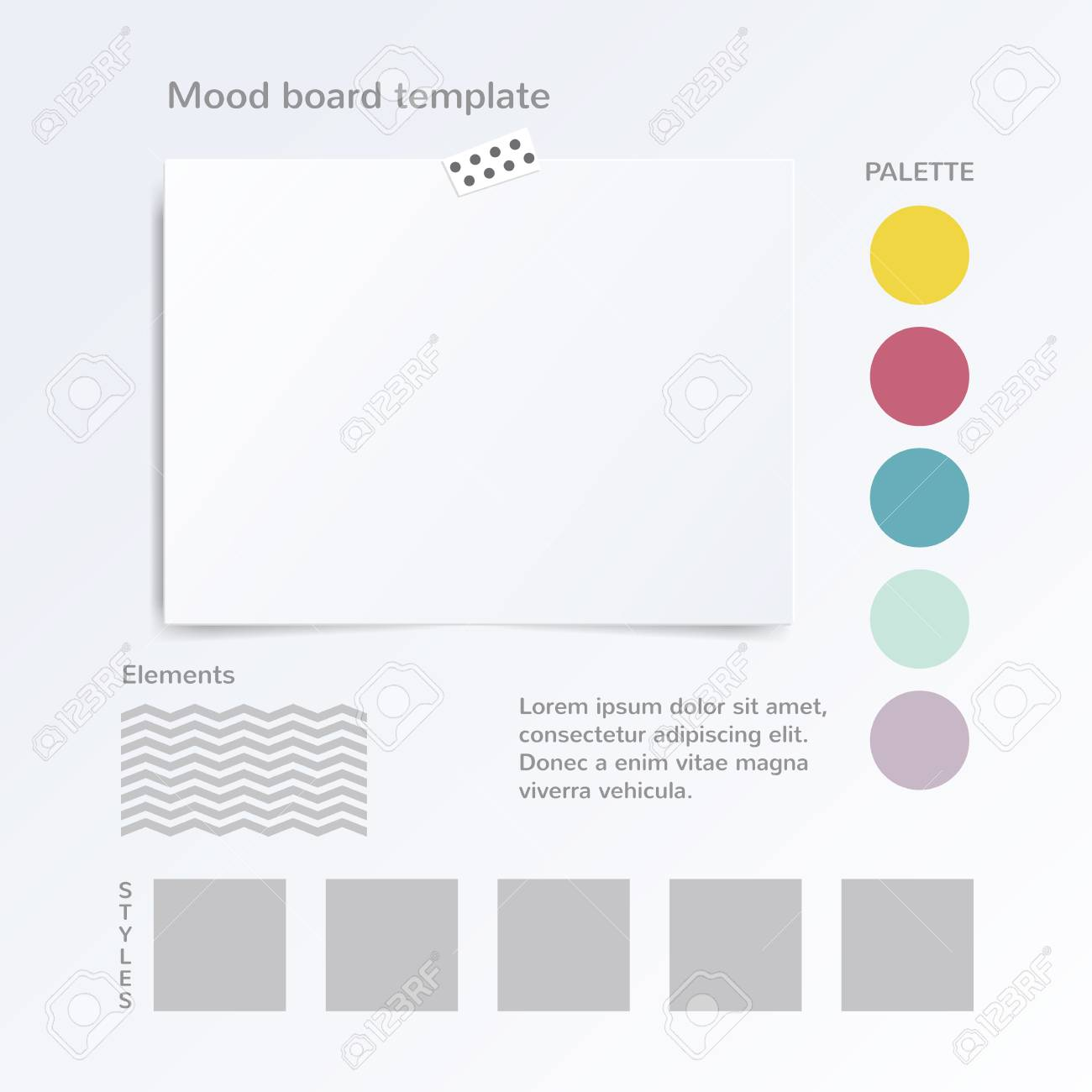 Vector Mock Up Template With Color Palette Isolated On White ...