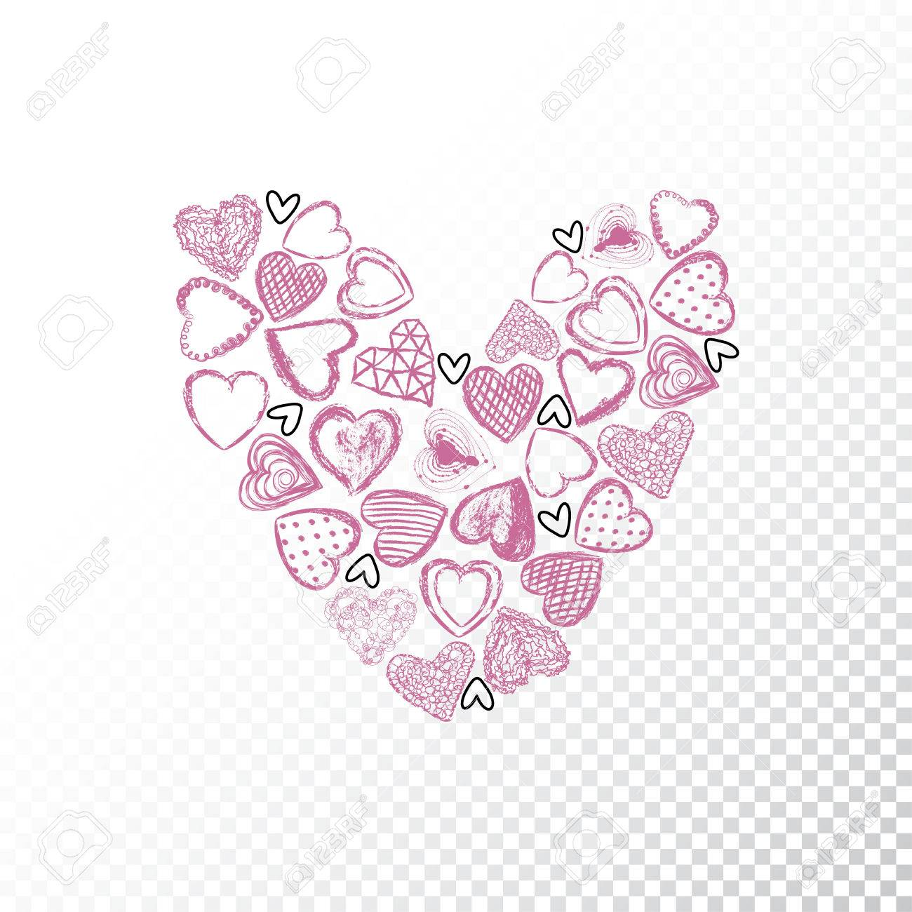 Vector Valentines Day Heart Drawn From A Set Of Small Hearts