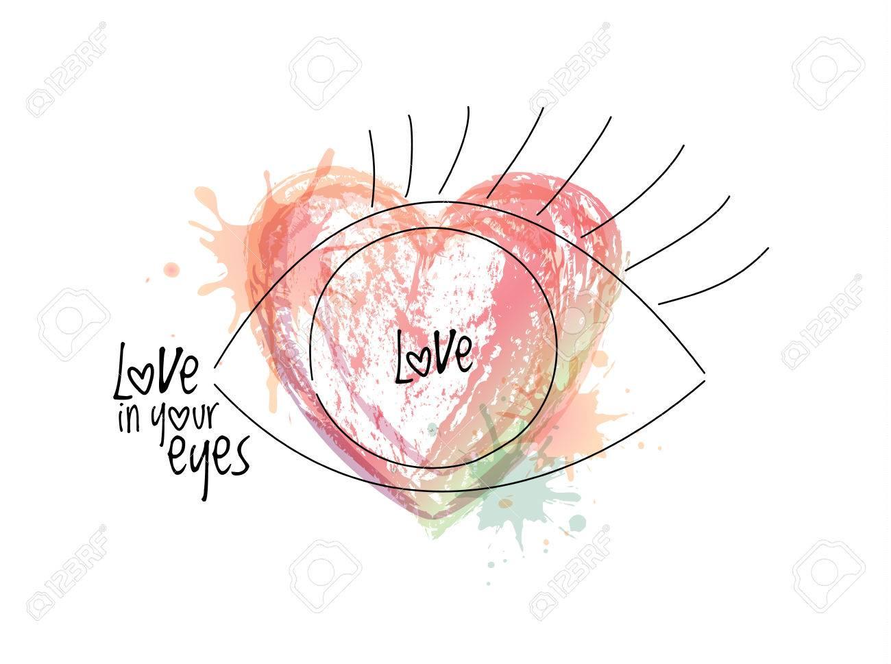 Ojo Abstracto Amor En La Frase De Saludo De Los Ojos Vector
