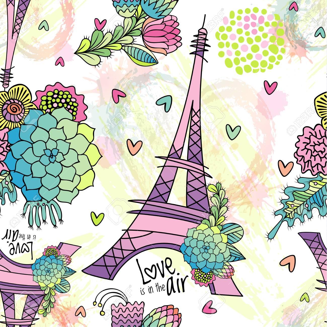 Abstrata Sem Costura Padrão Com Torre Eiffel Suculentas Folhas E Pinceladas O Amor Está Na Frase De Ar