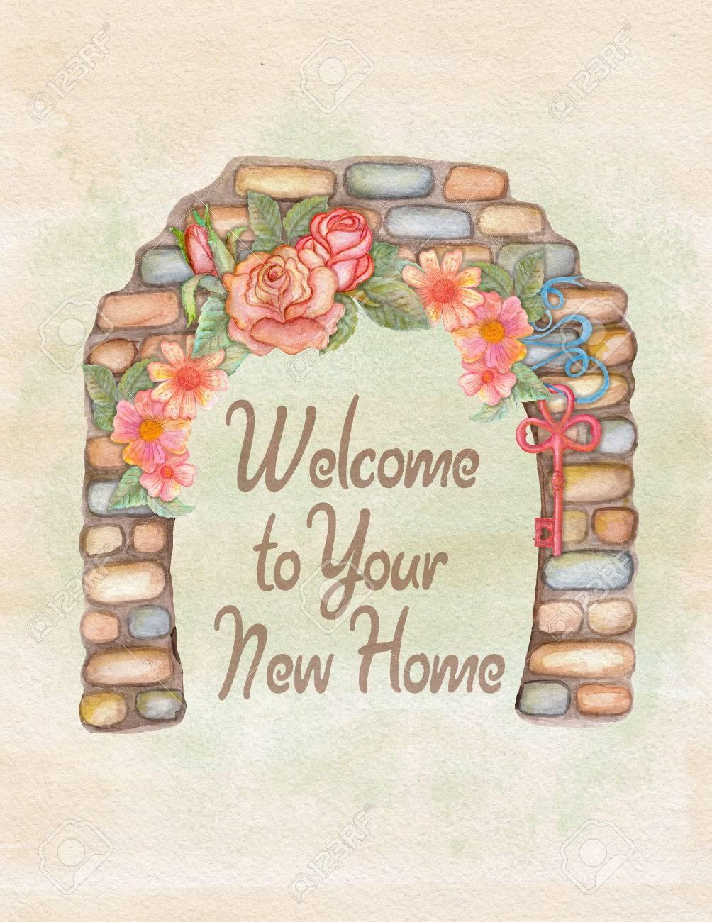 Watercolor House Warming Invitation Card Hand Drawn Illustration
