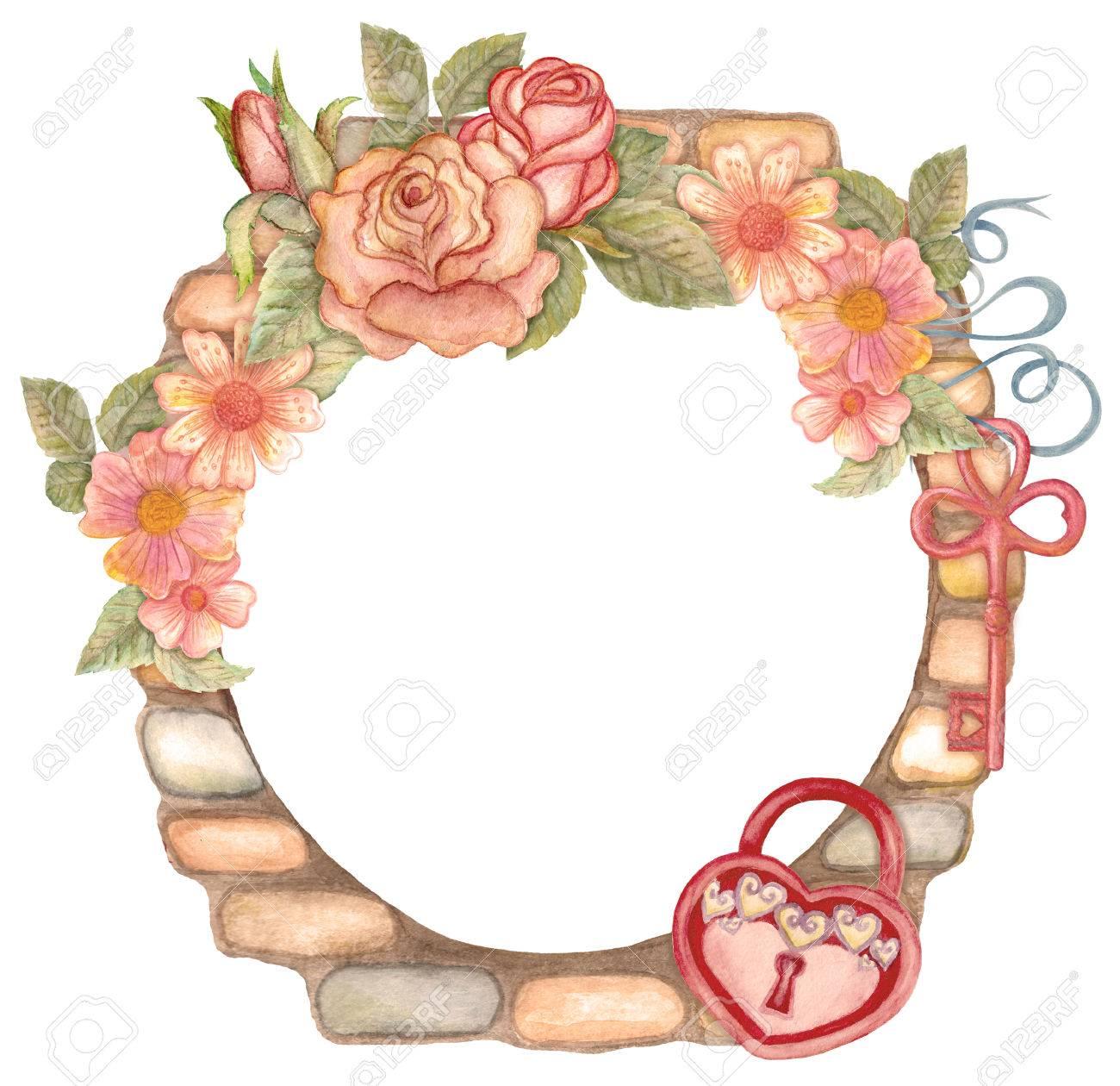 Aquarell Blumenkranz Mit Schlüssel, Vorhängeschloss Und Steinmauer ...