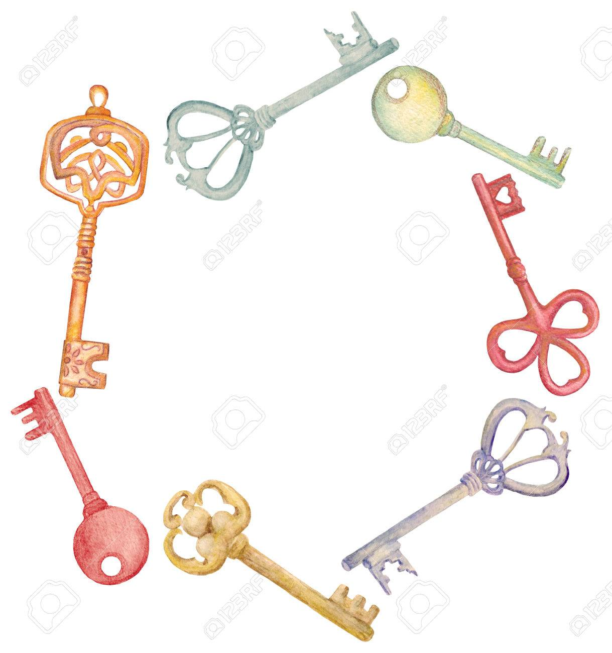 Watercolor Key Set Hand Drawn Collection Design For House