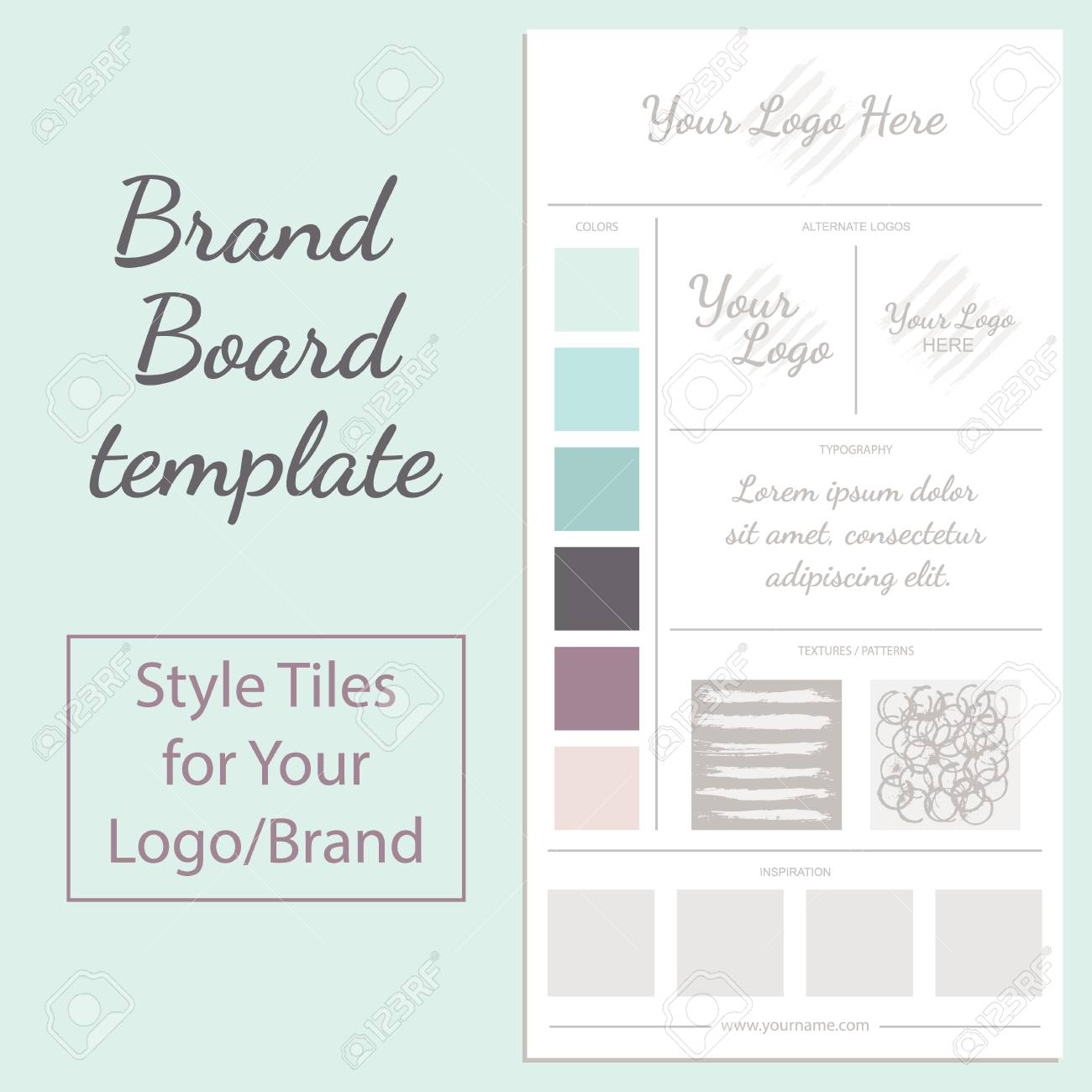 Vector Moodboard Template With Color Palette Isolated On White ...