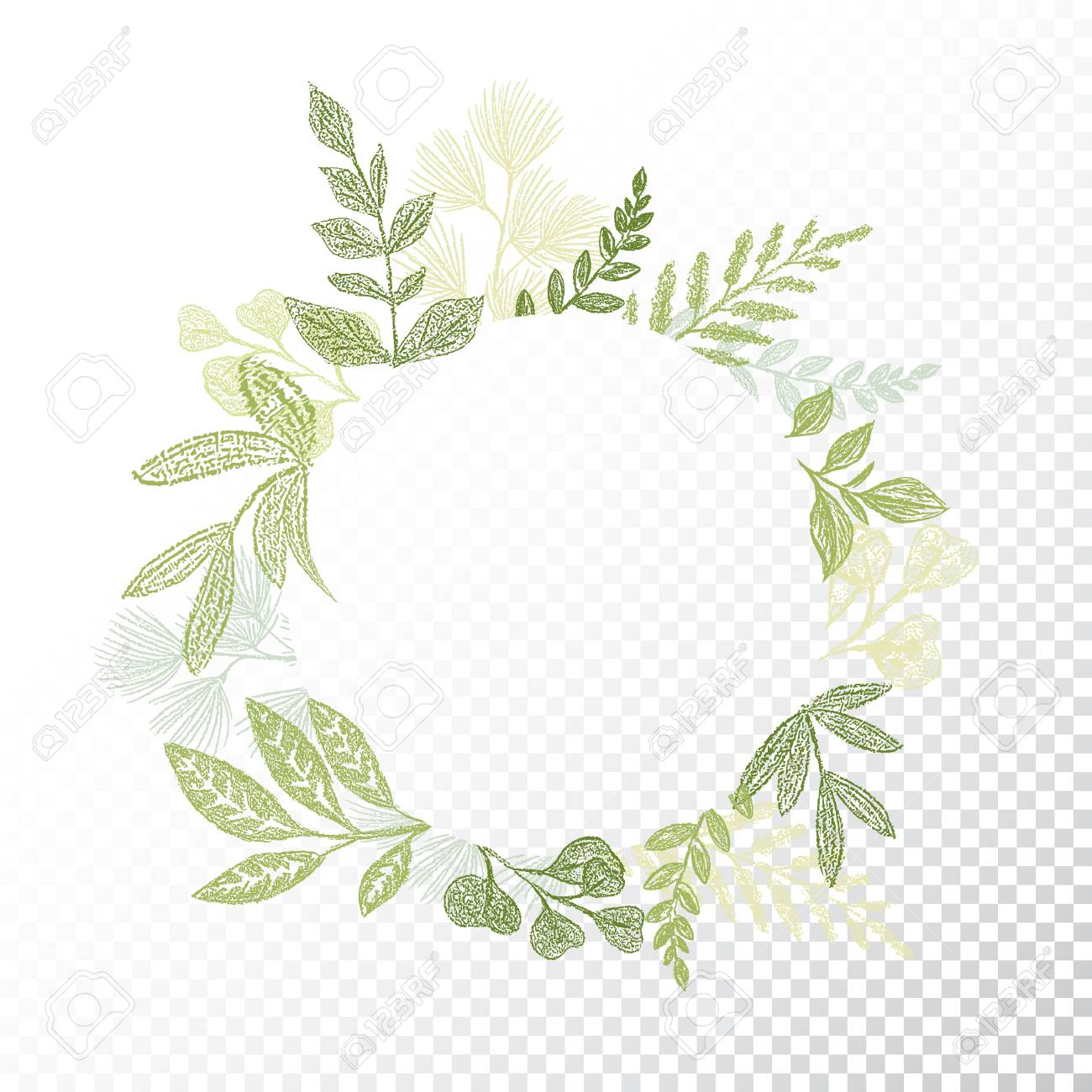 Transparent Background Circle Floral Frame With Hand Drawn Branches And Leaves Decoration Round Green Botanical Border For